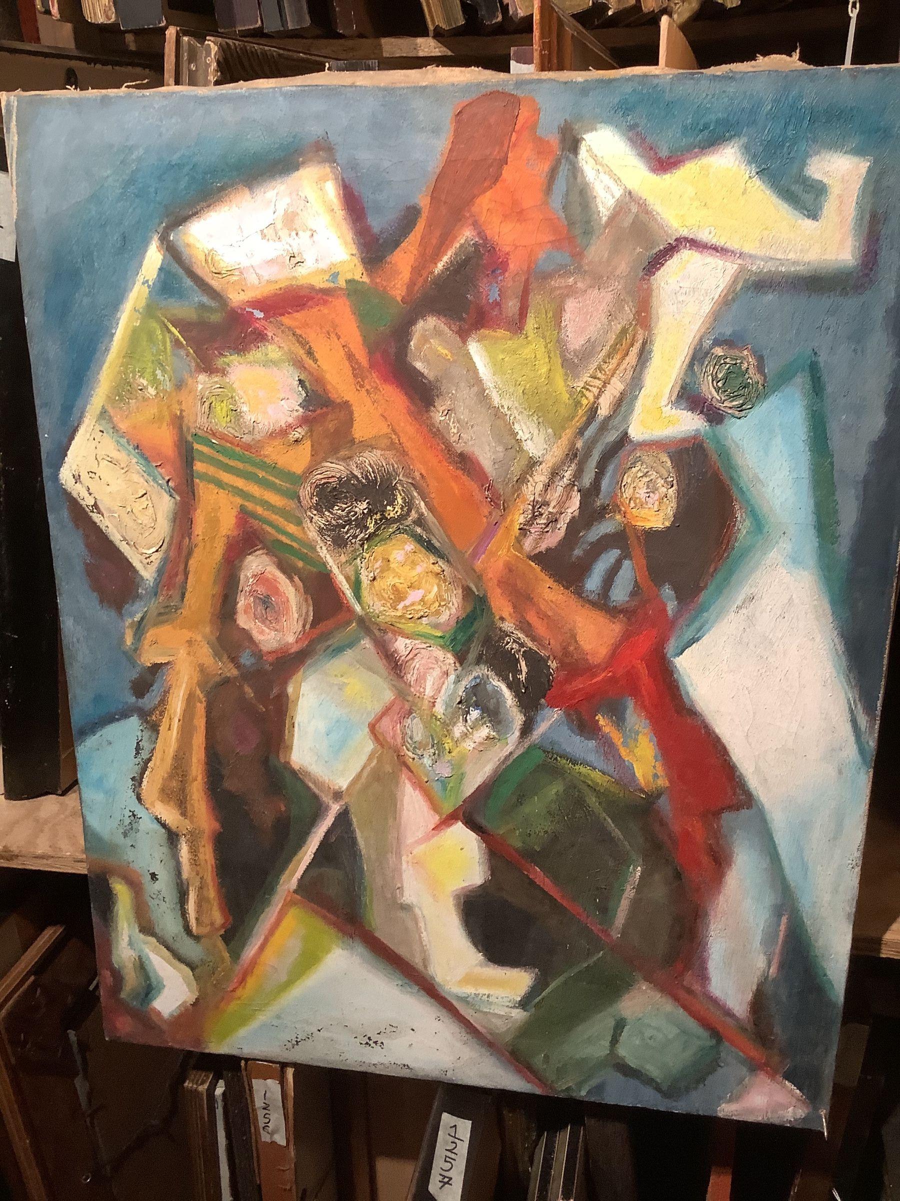 "Max Kassler, abstract Heads oil 28x22"""