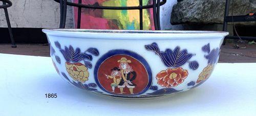 "Black Ship Imari Japanese Edo Period Bowl 9.75x3"""
