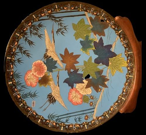 """Chinese Qing Dynasty Cloisonné Charger with stand 18"""""""