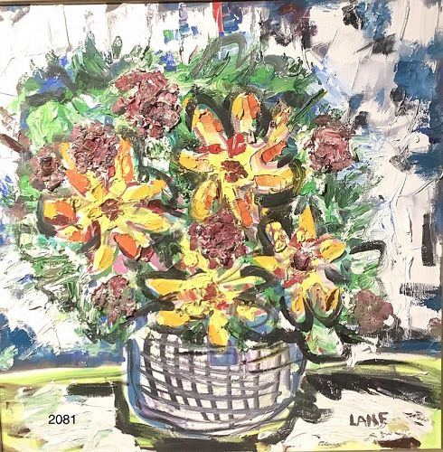 """Abstract Floral by American Artist Anne Lane """"24x24"""""""