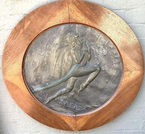 """Isadora Duncan Art Nouveau Copper Sculpture Signed 24"""""""