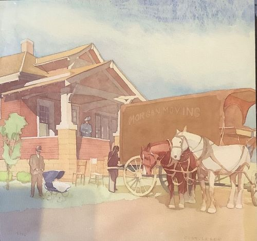 Artist C. St.Leger for Ross Perot Commission Set of Four Watercolors