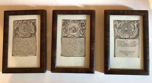 Set of Three Early Eighteenth  Century Prints Minitures English