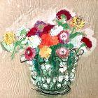 Bouquet of Zinnias 1954 original painting dated 1954