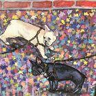 "Anne Lane American Artist ""Bulldogs"" oil 14x11"""