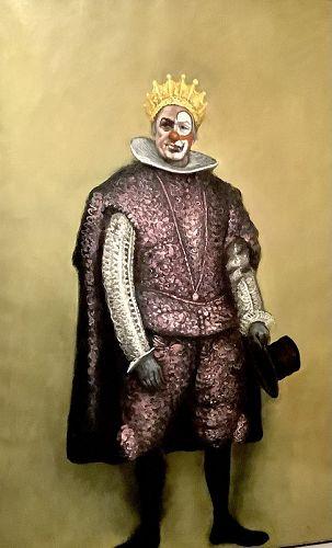 "Italian Artist Mario Russo ""Fellini's Fellini"" Oil Portrait 72x48"""