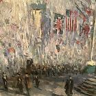 """Child Hassam Tribute """"Flags On Fifth Avenue WWI"""" 24x20"""""""