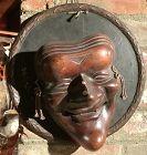 "Japanese Edo Kabuki Wooden  Sculpture Of A Mask 11"""