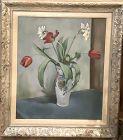 "Artist Hugo Belving 1946 Still Life with Tulips 22x18"""