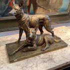 Charles Paillet French Artist 1871-1937 German shepherds Bronze