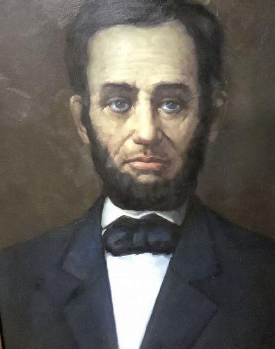 "Oil Portrait of President Abraham Lincoln circa 1909 , 34x29"""