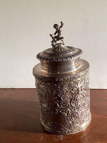 German Silver Repoussé Tobacco Jar w/ Infant Bacchus Sculpture Finial