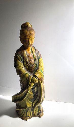 """Chinese Qing Dynasty Guan Yin  Porcelain Figure Mandarin Yellow  12"""""""