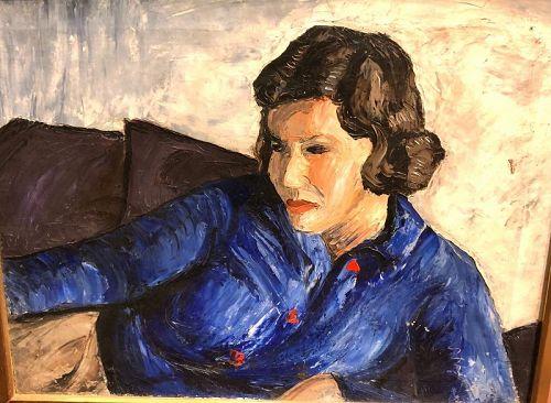 "Norman Macleish  Masterwork Oil Portrait Of Marne"" 16x20"
