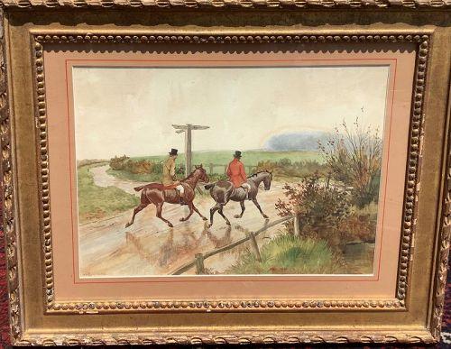 "G.D. ROLLANSON 1861-1928 British Artist ""After The Hunt"" 11x14"""