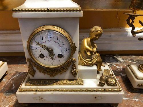 French Bronze 2nd Empire Ormolu Clock Suite Circa 1840 EagleMotif