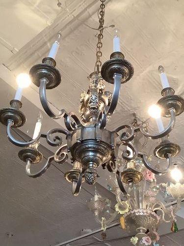 "Italian Electrified Vermeil Chandelier Putti Decorated 28""32"""