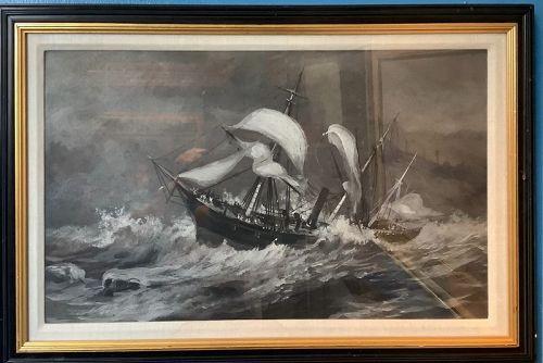USS KEARSARGE, Xanthus Smith American Marine Painter 17x24 charcoal