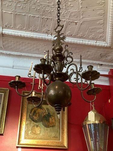 """Russian Czarist Era Brass Chandelier With Double Eagle 24"""""""