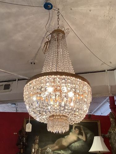 """French 1920s Empire Style Crystal Chandelier 36""""x22"""""""