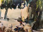 "French Orientalist Antoine Beau… ""The Arab Meet"" Watercolor 15x20"""