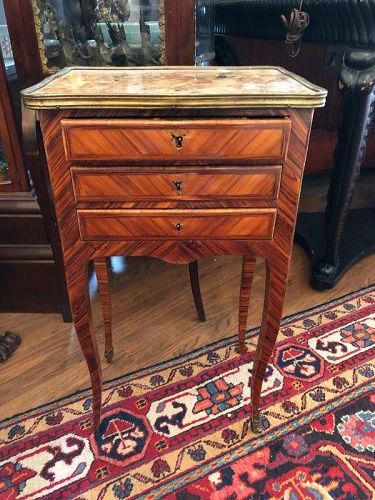 French Louis XIV Pair of Bedroom Side Table Secretaries w/ marble tops