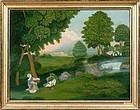 A Wonderful American Idyllic Folk Art Painting   c1840