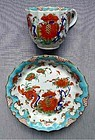 Worcester Jabberwocky Coffee Cup and Saucer  c1768