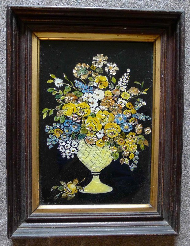 A Fine Foil or Tinsel Reverse Painting on Glass 19th c