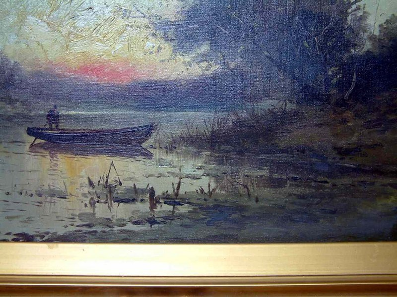 Signed George Harland Oil on Canvas Landscape c1908