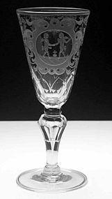 Large German Friendship Wine Glass Goblet c1780