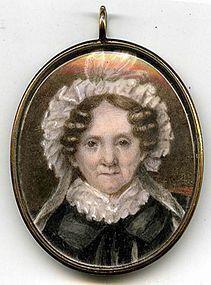 Unusual American Miniature Portrait of a Woman  c1815