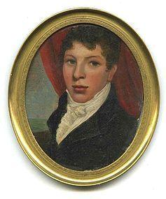 American Miniature Portrait Oil on Copper c1810