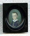 Joseph Saunders Miniature Painting of a Boy c1790
