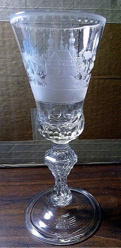 Superb Saxon Hunting Glass c1740
