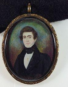Abraham Parsell Miniature Folk Painting c1835