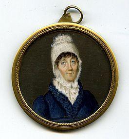 Superb Miniature Portrait of Older Woman c1795