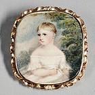 Portrait Miniature of Child 15K Gold Case English c1830