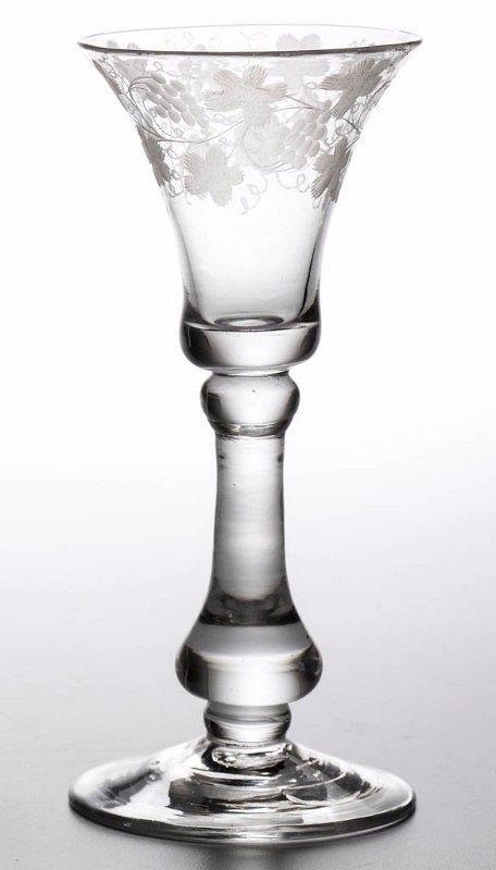 A Superb English Baluster Wine Glass c 1715 - 1720