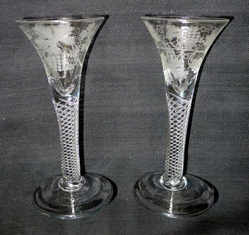 A Pair of Antique English Air Twist Wine Glasses  c1755