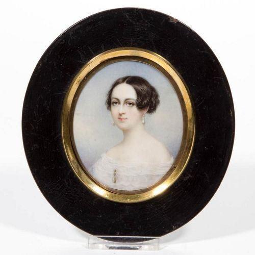 Thomas Seir Cummings, Portrait Miniature of Eliza Cadwalder c1840