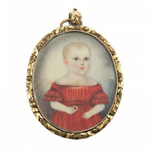 Superb American Portrait Miniature of Child c1835 - 1840