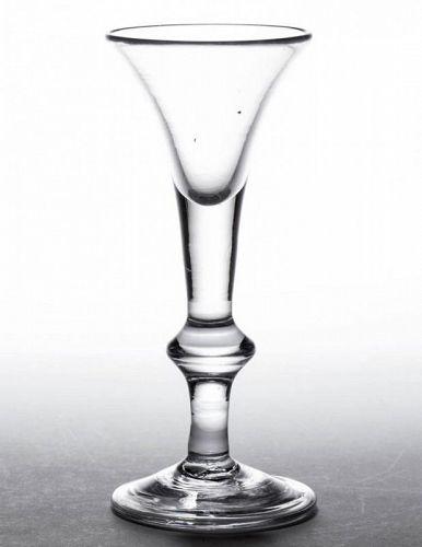 A Good English Baluster Wine Glass  c1720 - 1725