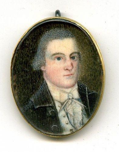 Extremely Rare Ebenezer Mack American Miniature Portrait c1785