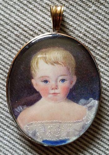 A Nice Portrait Miniature of a Child c1831