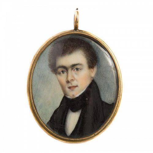 Miniature Portrait of John Amory Lowell of Boston  c1835