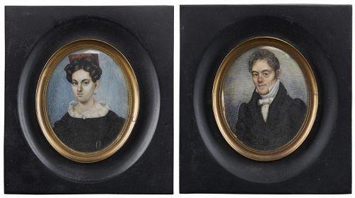Richard  Verbryck Verbryke Portrait Miniatures (Pair)  c1815