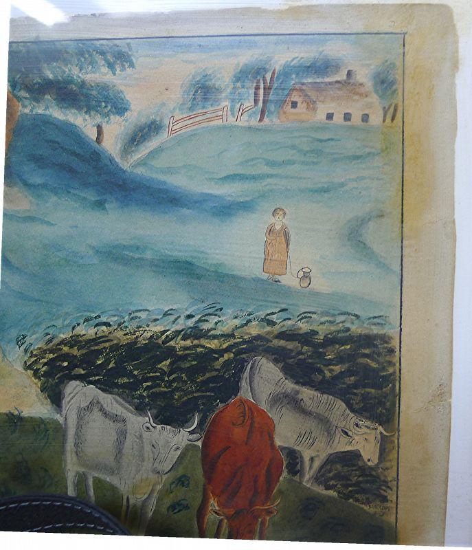 Important Naive Watercolor Scene c1820