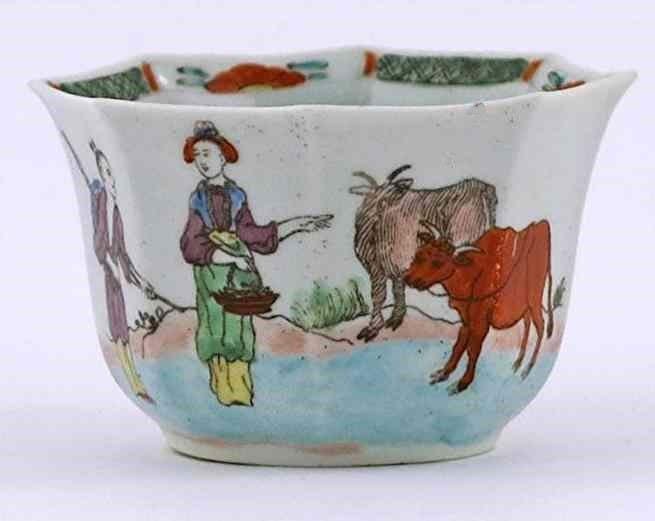 A Rare Early Worcester Octagonal Red Bull Tea Bowl c1754