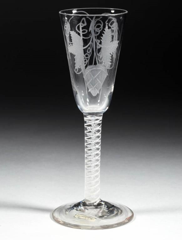 An English Engraved DSOT Ale Glass  c1765